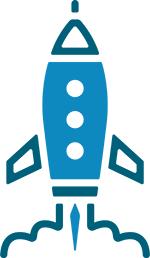 Backlink-Updates werden als Grafik einer Rakete dargestellt