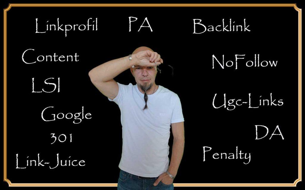 Verschiedene Begriffe rund ums Google Backlinks kaufen an einer Tafel
