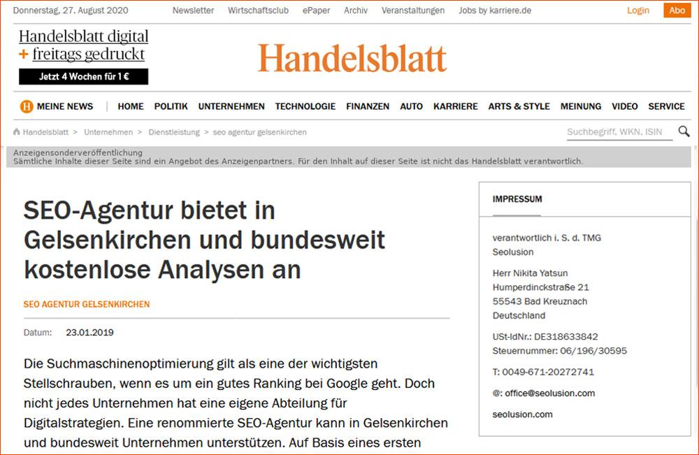 Screenshot Handelsblatt für Anzeigenwerbung SEO-Agentur