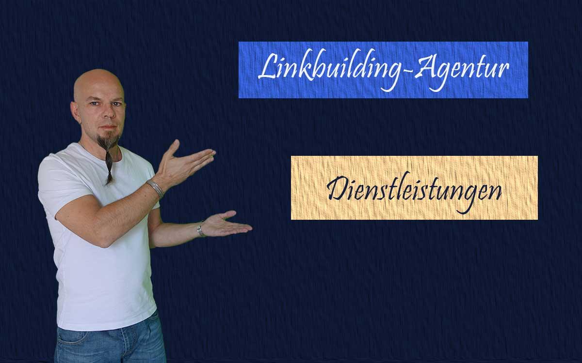 Grafik mit der Aufschrift Linkbuilding-Agentur Dienstleistungen