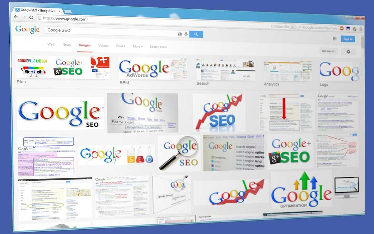 Collage von Google-Grafiken zum Thema bessere Rankingergebnisse durch die SBS SEO-Agentur