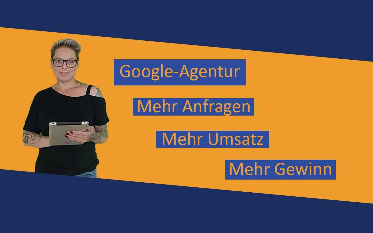 Foto von Nadja Bell mit dem Schriftzug Google-Agentur
