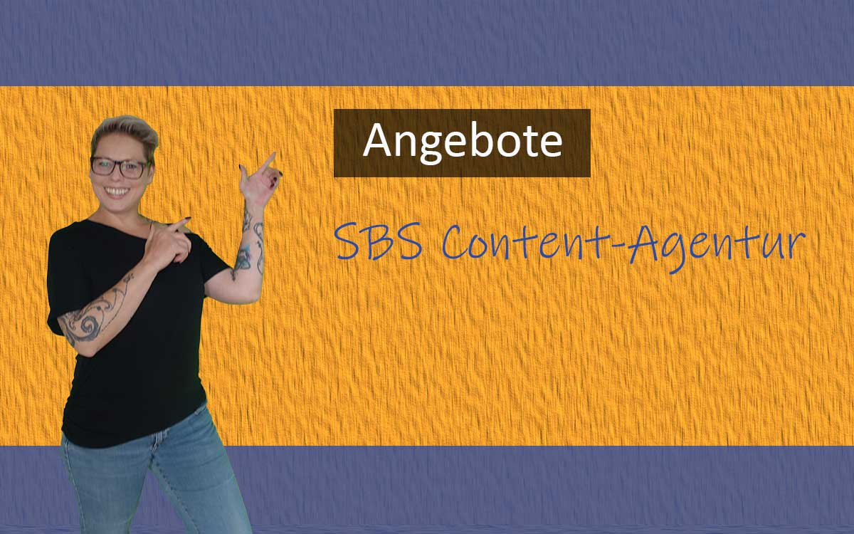 Collage mit Nadja Bell und der Aufschrift SBS Content-Agentur Angebote