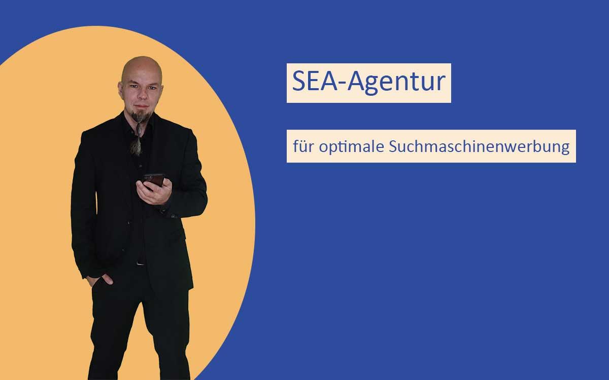 Collage mit Timo Bell und der Aufschrift SEA-Agentur für optimale Suchmaschinenoptimierung