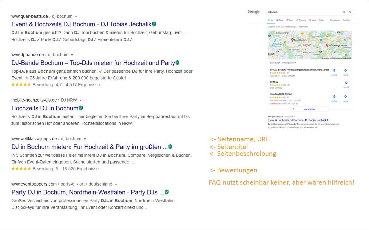 Grafik mit Google-Ergebnisse zum Thema DJ Bochum