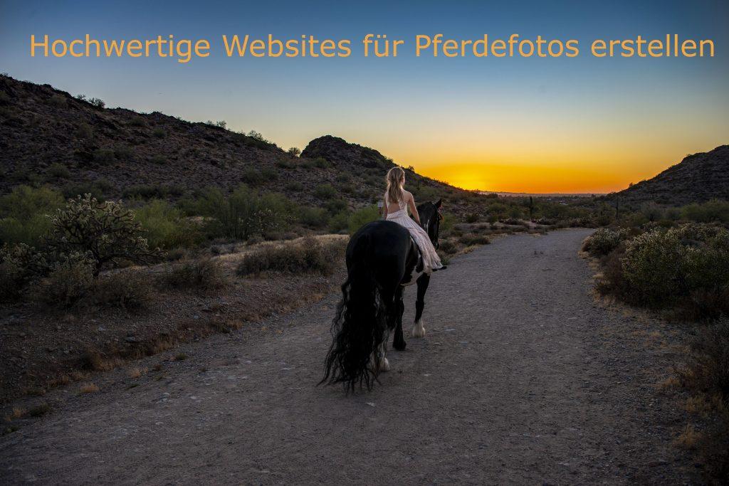 Foto eines in den Sonnenuntergang reitenden Mädchens mit dem Schriftzug Hochwertige Websites für Pferdefotos erstellen